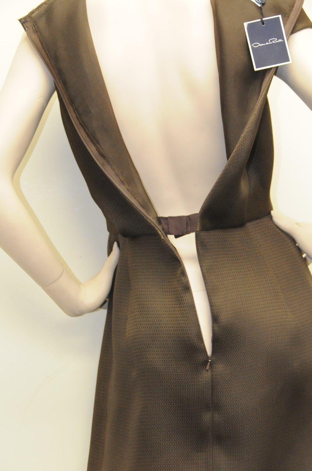 2350  New New New Oscar de la Renta Pique Gazar Asym SS Brown Silk RUNWAY DRESS size 6 1d55b4