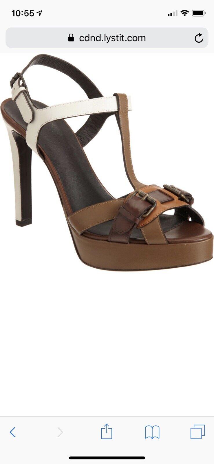 Belstaff Womens shoes Size 41 10M  Brown Leather Platform T Strap Sandals Heels