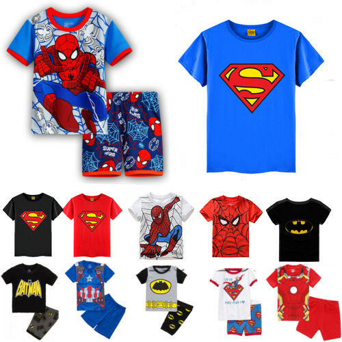 Toddler Kid Boy Superhero Spiderman Batman T Shirt Set Cartoon Outfit Top Summer