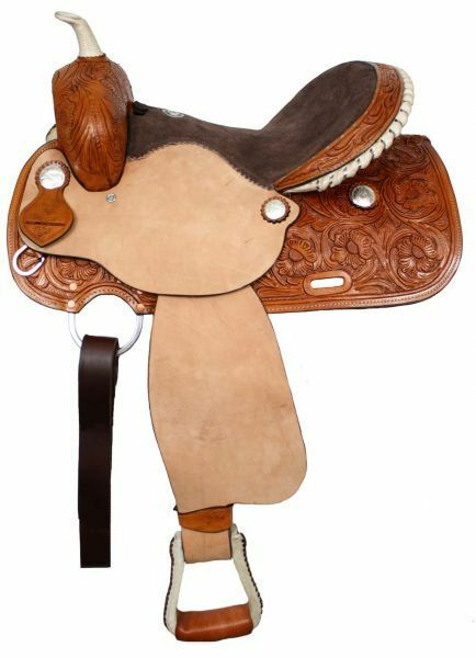 Barrel Style Saddle Suede Leather Seat Floral Tooling Rough Out 15  or 16  NEW
