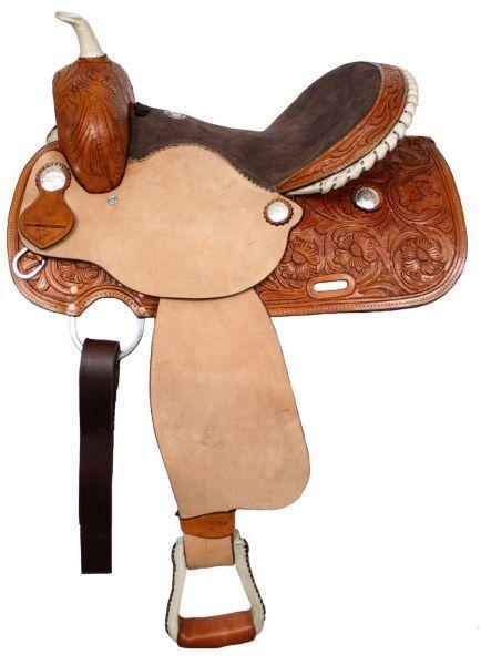 Silla de montar asiento de cuero de gamuza  estilo Barril Floral Tooling áspero 15  o 16  Nuevo  venderse como panqueques