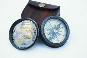 Brass-Compass-Pocket-Compass-With-Leather-Case-Vintage-COMPASS-Poem-Compass-Gift