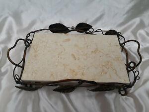 RARE Vintage Cream Color Marble Decorative Brass Footed Vanity Tray Art Nouveau