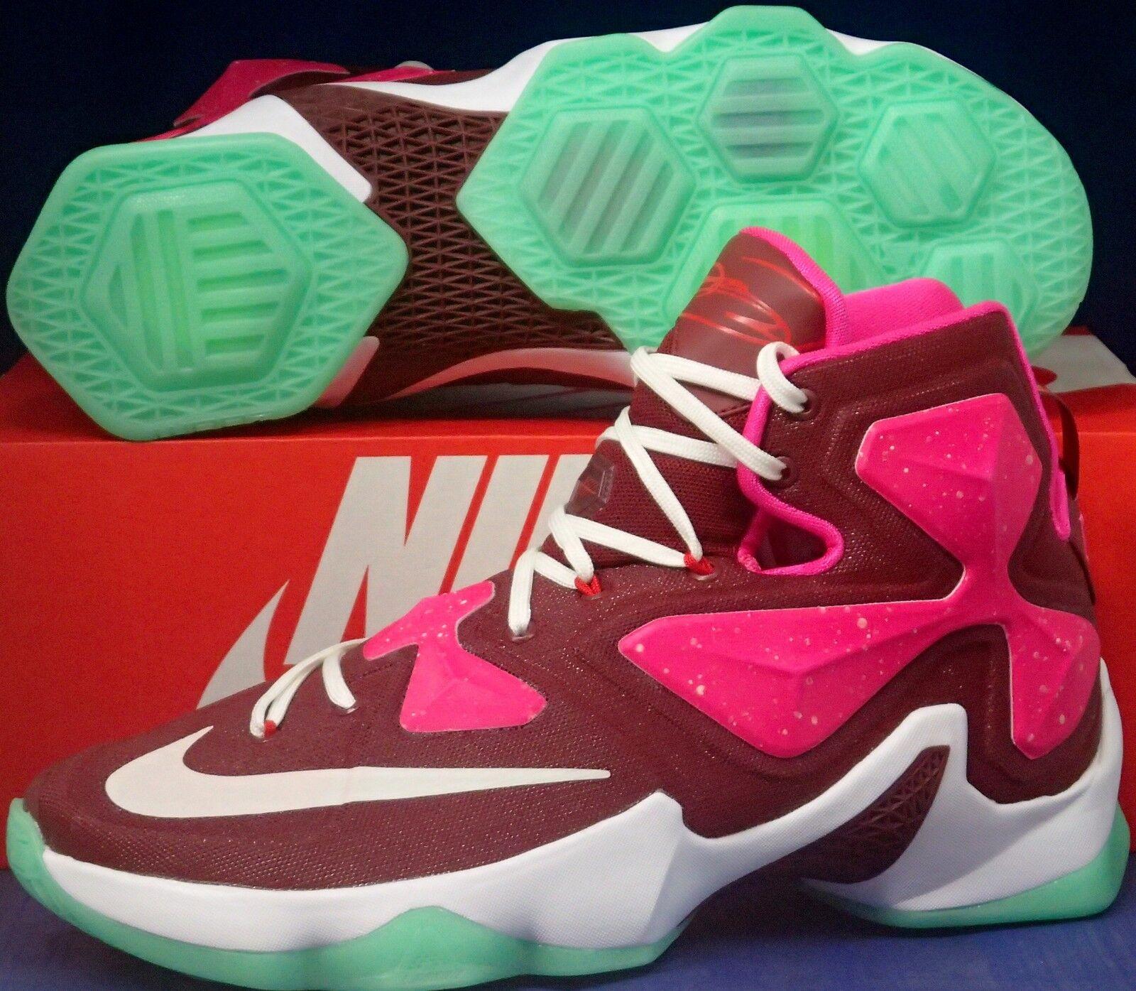 Nike Lebron XIII 13 iD Gym Red Fire Pink White Green SZ 9 ( 836141-992 )