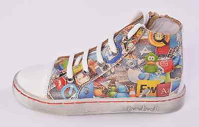 Bo-bell Infant Boys Fluffy Graffitti Leather Zip Trainers UK 8 EU 26 RRP £51