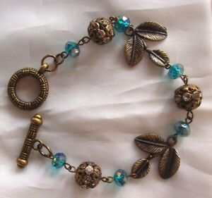 Details About New Antique Gold Color Looking Bracelet Costume Jewelry Leaves Blue Beads 7 1 2