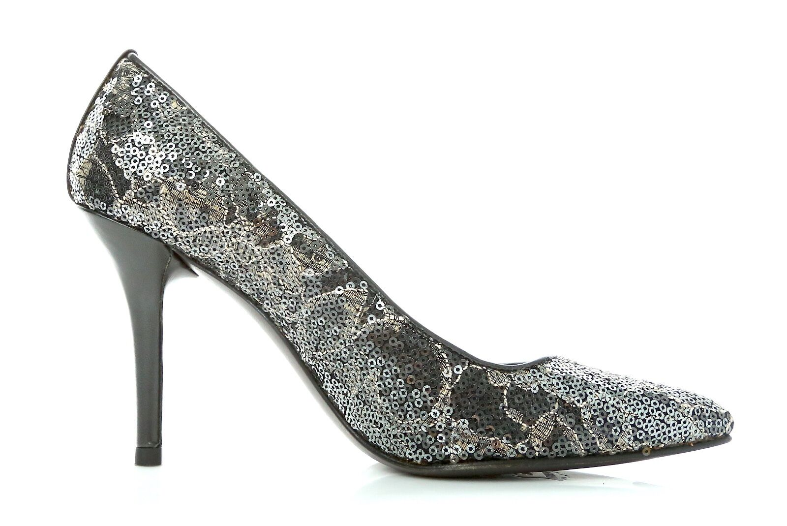 Stuart Weitzman Silver Sequin Volcanic Lace Lace Lace Pipepower Pointy-Toe Pumps Size 6.5 24ab26