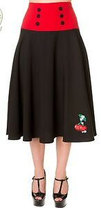 NEW-L-BLACK-RED-CHERRY-SKIRT-RETRO-14-ROCKABILLY-WORK-BANNED-CHERRIES-1950