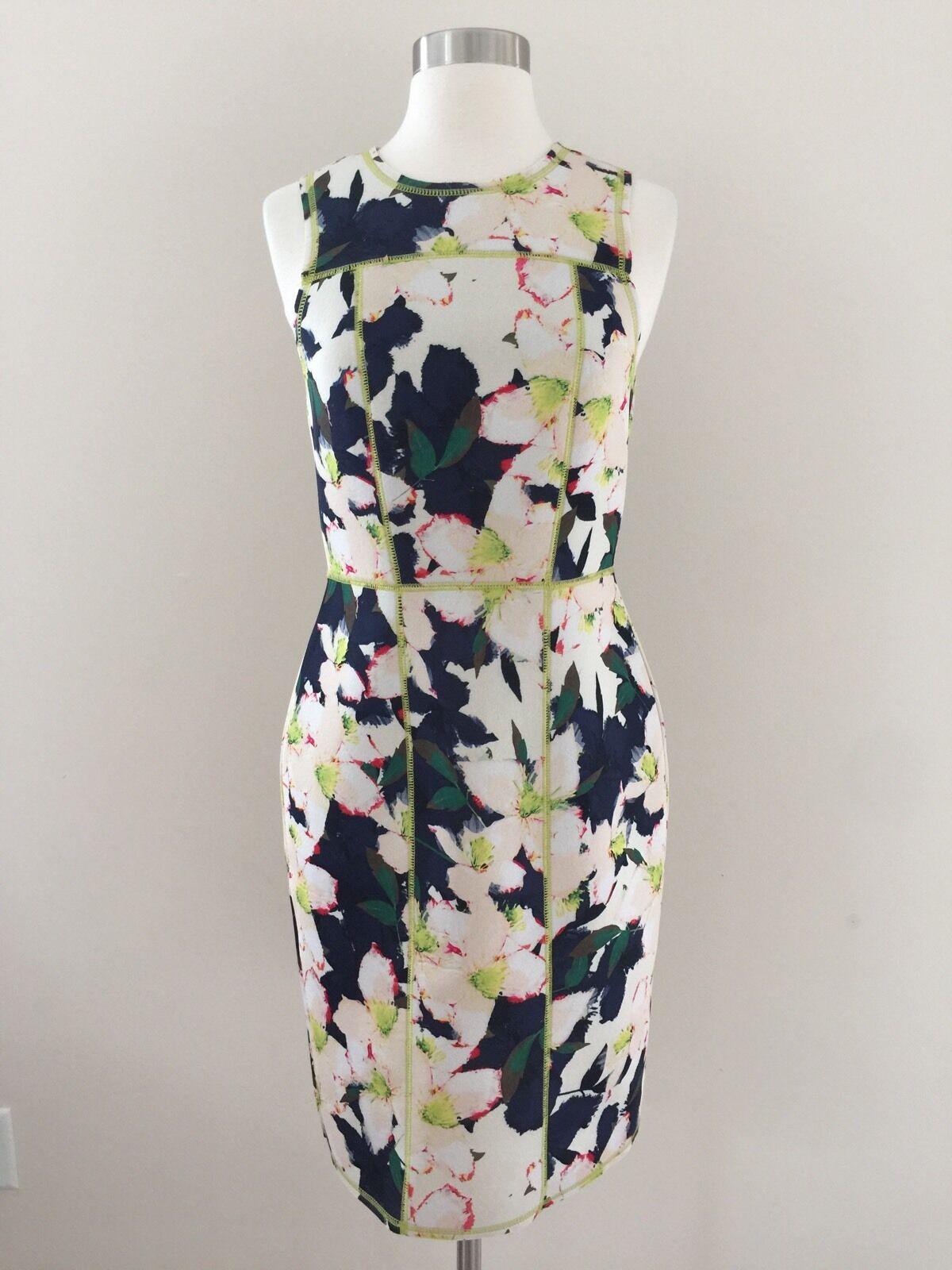 New Jcrew Weiß Grün Blau Floral Scuba Fitted Zipper Back Pencil Dress Größe 2