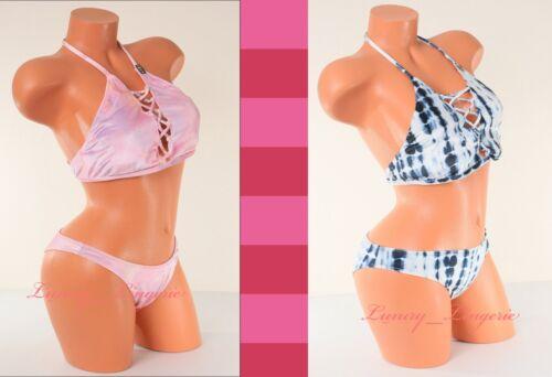 Pink Victoria/'s Secret 2 Piece Swim Set High-Neck Top Mini Bikini Velvet S M L