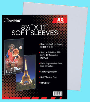 """100 BCW 8.5x11/"""" MAGAZINE SOFT SLEEVES 2 MIL Photo Clear Poly 8-1//2x11 Print Page"""