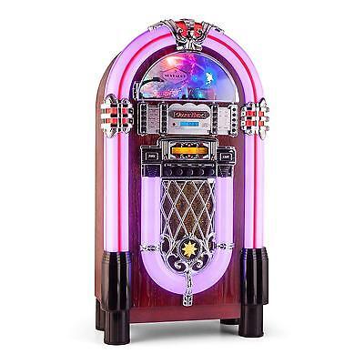 JUKEBOX AUNA GRACELAND XXL BT BLUETOOTH USB SD AUX CD FM ECLAIRAGE DESIGN RETRO