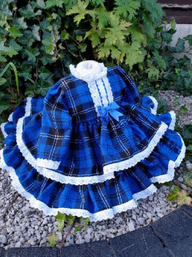 DREAM 0-4 YEARS BABY GIRL ROYAL BLUE TARTAN WINTER SPANISH PUFFBALL FRILLY DRESS