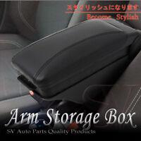 90-99 Toyota Corolla Black Leatherette Front Center Console Armrest Storage Box