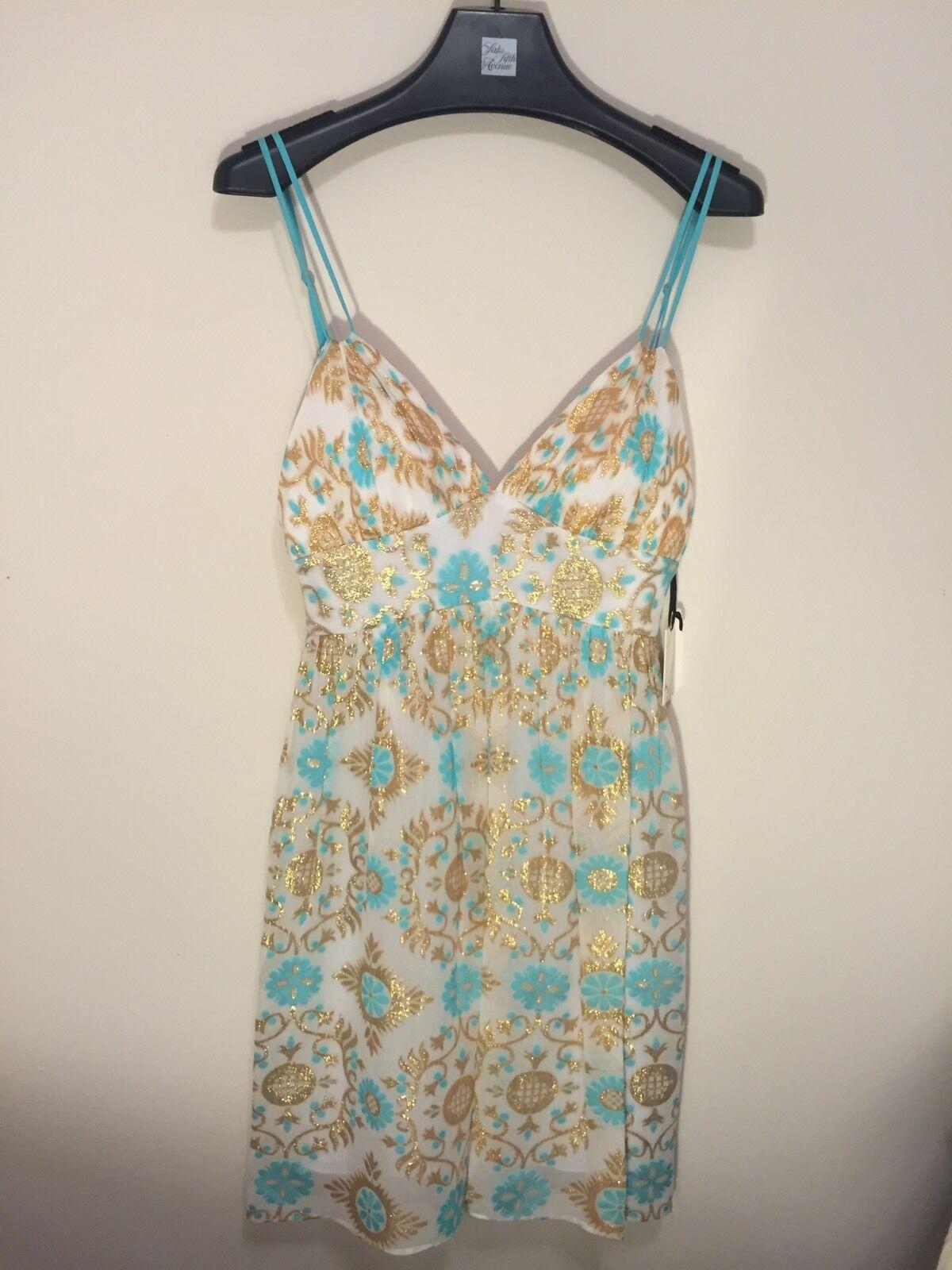 Milly of New York Dress Size 6 Short Aqua bluee gold Metallic White Silk  400