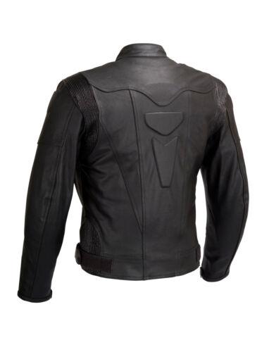 Men Motorcycle Biker Leather Jacket Full Zip out Liner CE Armor Black OS-MBJ06