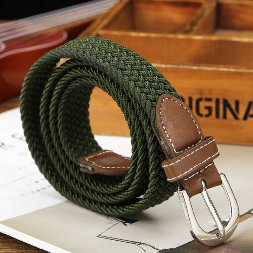 US Stock Men/'s Braided Elastic Woven Canvas Buckle Belt Waistband Waist Straps