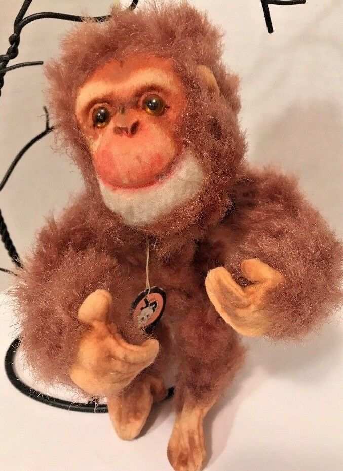 Vtg Jerry Elsner JAPAN Hanging Monkey 50s w Orig JP Cat Tag Head & Tail Move EVC