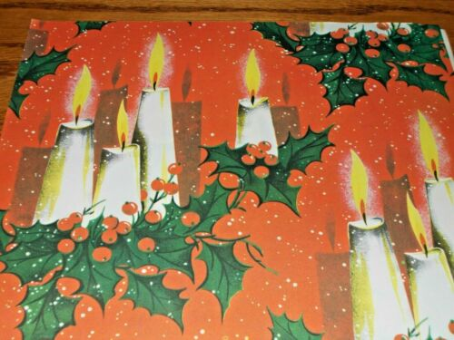 VTG CHRISTMAS WRAPPING PAPER GIFT WRAP NOS 1960 GORGEOUS CANDLES AND HOLLY