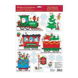 Enfants-Pere-Noel-Pole-Nord-Train-Express-Noel-Fenetre-Autocollant-Decorations