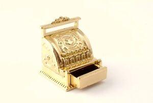 Gold Cash Register, Dolls House Miniature, Shop, Pub Till, Equipment .