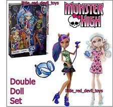 NUOVO Monster High Doppio Doll Set Viperine Gorgon & Clawdeen Wolf spaventare & Trucco