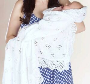 Knitting Pattern For A Round Heirloom Baby Shawl : Knitting Pattern Baby Shawl Christening Heirloom Blanket eBay