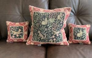 Vintage-Set-Of-3-Folk-Art-Rabbit-Hare-Monkey-Fox-Bird-in-Garden-Tapestry-Pillow