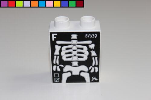 Motivstein Röntgenbild Skelett Krankenhaus weiß 1x2 2er hoch Lego Duplo