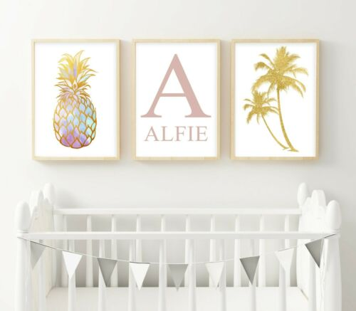 3 Personalised Pineapple Prints Golden Palms Nursery Wall Art Decor Pictures
