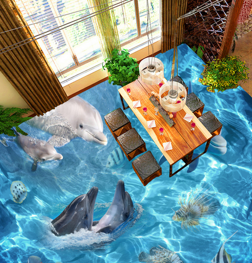 3D Sea Dolphins 554 Floor WallPaper Murals Wall Print 5D AJ WALLPAPER AU Lemon