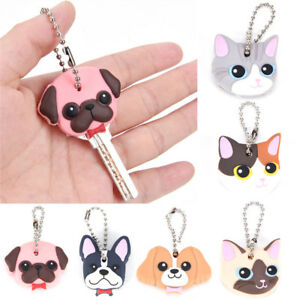Silicone-Puppy-Pug-Cat-Rabbit-Key-Cover-Cap-Keychain-Key-Ring-PVC-Key-Case-WG