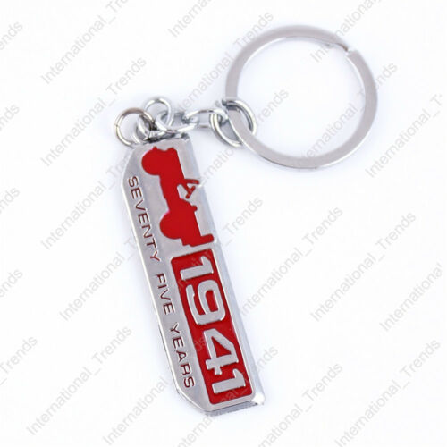 1x Chrome Finish 1941 75 Years Key Chain Fob Ring Keychain for JEEP Wrangler