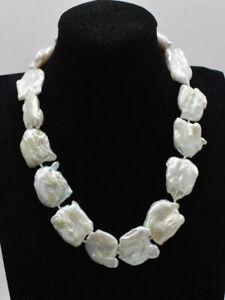 Gross-Perlenkette-20-25-mm-weiss-Keshi-Barock-Perle-Halskette-17-25inch