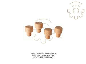 100 Tappi sintetici a fungo mm 29x19 gambo 20 per bottiglie vino e distillati