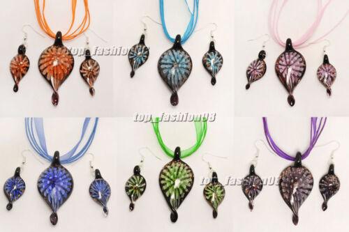 3wholesale 6set 3D Flower Leaf Lampwork Glass Pendant Silver P Necklaces Earring