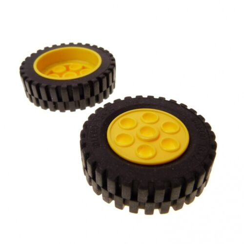 2 x Lego Technic Wheel Black Yellow 30mm D.x 13mm Rim 13x24 Engineering