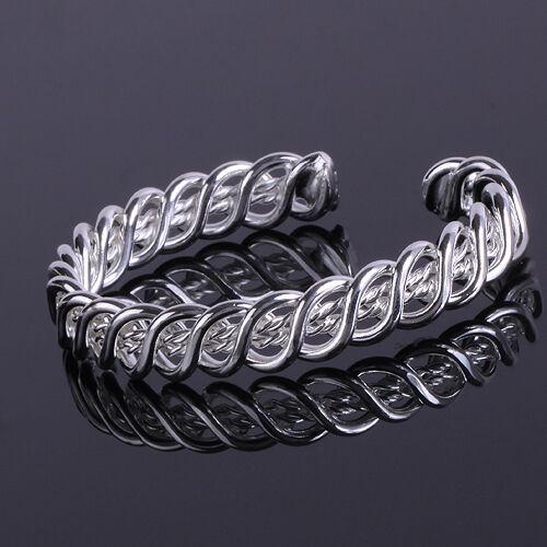 Wholesale Fashion 925Solid Silver Bangle Lady/Mens Silver Bracelet & Gift Box