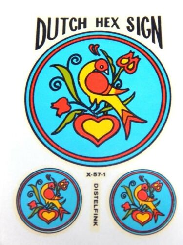 Vintage 1960s PA Dutch Hex Sign Wet Sticker Distelfink Impko Decal Luck Faith
