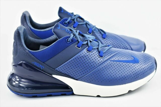Nike Air Max 270 Premium Mens Size 8.5 Running Shoes Leather Blue AO8283 400