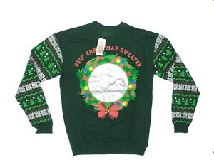 Details about NWT , SPENCER\u0027S Adult \u0027UGLY CHRISTMAS SWEATER\u0027 Green PULLOVER  SWEATER , XL