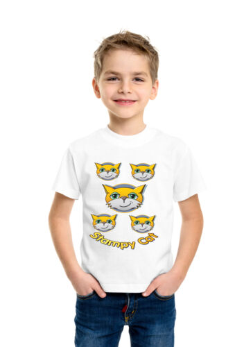 Stampy Cat Multi Cat Face Cartoon Kids Boys Girls Holiday Funny Top T Shirt 104