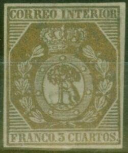 Espagne-1853-3ch-Bronze-edifil-23-Tres-Fine-amp-Frais-Inutilise-Cv-19-000-Euros