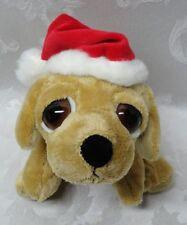 Russ Berrie Vtg PEEPER Yellow Lab Santa Hat Dog Puppy Big Eyes Stuffed Animal