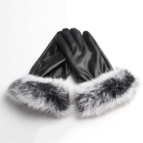 Women Lady PU Leather Wrist Gloves Driving Winter Warm Rabbit Fur Mittens Warm G