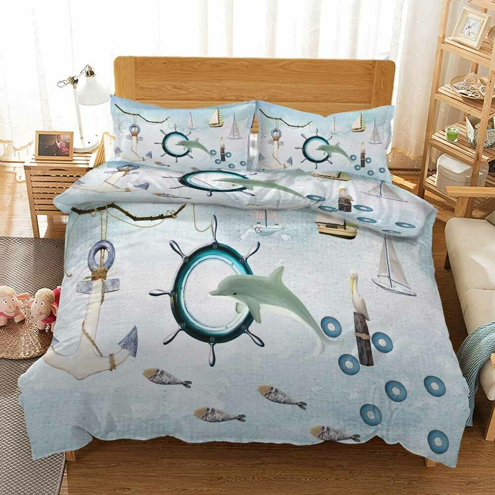 Circle blanc Whale 3D impression couette courtepointe volonté des couvertures PilFaible cas literie ensembles