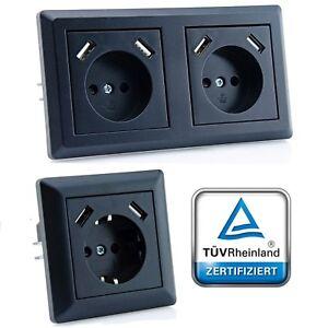 230 V USB-Steckdose, passend für Gira System 55 E2, JUNG AS 500, uvm., Schwarz