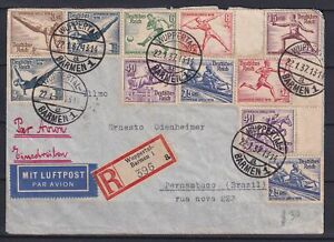 GERMANY-1937-Olympic-Games-Cover-from-Wuppertal-Barmen-to-Pernambuco