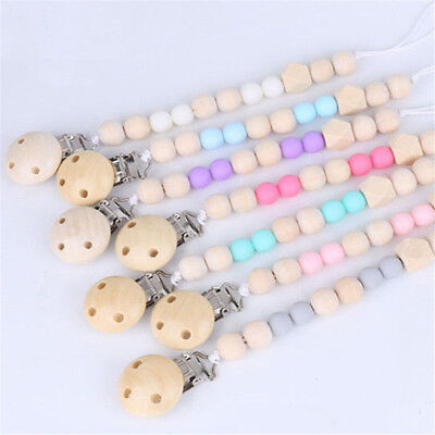 Baby Pacifier Clip Chain Wooden Soother Pacifier Clips Leash Strap Nipple Holder