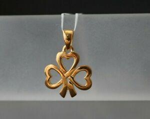 Kleeblatt-Anhaenger-vergoldet-925-Silber-Gluecksklee-Gold-Damen-Gluecksbringer-Herz